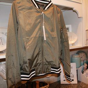 Jackets & Blazers - Green Bomber Jacket, cuff striped green jacket NWT